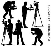 cameraman with video camera.... | Shutterstock .eps vector #164397449
