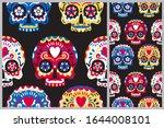 dia de los muertos seamless... | Shutterstock .eps vector #1644008101