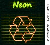 neon recycling icon isolated on ...