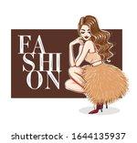 sensual woman in puffy dress... | Shutterstock .eps vector #1644135937