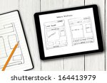website wireframe sketch on... | Shutterstock . vector #164413979
