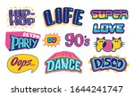 set of lettering 90s life.... | Shutterstock .eps vector #1644241747