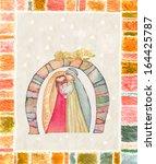 christmas nativity scene  jesus ... | Shutterstock . vector #164425787
