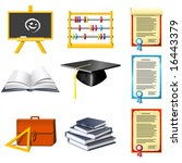 education and school icons set | Shutterstock .eps vector #16443379