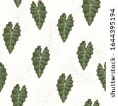 seamless tropical green leaf... | Shutterstock .eps vector #1644395194