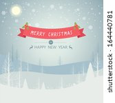 merry christmas landscape with... | Shutterstock .eps vector #164440781