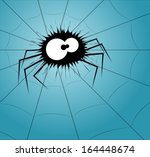 Spider On A Web. Vector...