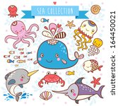 sea animals collection.   Shutterstock .eps vector #164450021