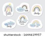 hand drawn cute rainbow sticker.... | Shutterstock .eps vector #1644619957