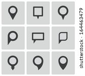 vector black map pointer icons... | Shutterstock .eps vector #164463479