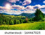 meadow near coniferous forest in mountains in evening - stock photo