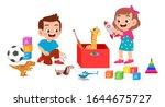 happy cute little kid boy and... | Shutterstock .eps vector #1644675727