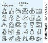 wedding line icon set. getting... | Shutterstock .eps vector #1644725377