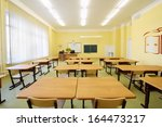 empty classroom with wooden... | Shutterstock . vector #164473217