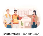 engineers discuss with woman... | Shutterstock .eps vector #1644843364