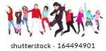 group of children jumping... | Shutterstock . vector #164494901