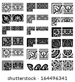 borders and corners set.... | Shutterstock .eps vector #164496341