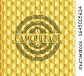 camouflage gold shiny badge.... | Shutterstock .eps vector #1645005634