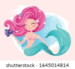 cute mermaid with little fish... | Shutterstock .eps vector #1645014814