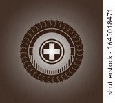 medicine icon inside wood badge ... | Shutterstock .eps vector #1645018471