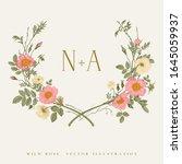 wreath with wild roses. wedding ... | Shutterstock .eps vector #1645059937