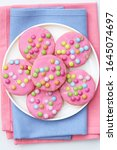 Pink Cookies With Colourful...