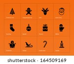 christmas icons on orange...