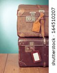 vintage travel valises with... | Shutterstock . vector #164510207