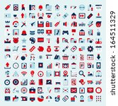 retro flat network icon set | Shutterstock .eps vector #164511329