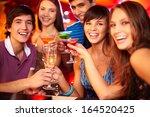 portrait of joyful friends... | Shutterstock . vector #164520425