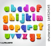 3d alphabet colorful font style.... | Shutterstock .eps vector #164524145