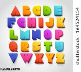 3d alphabet colorful font style.... | Shutterstock .eps vector #164524154