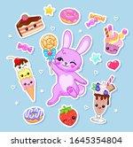 cartoon bunny with lollipop ... | Shutterstock .eps vector #1645354804