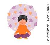 children meditation. boy...   Shutterstock .eps vector #1645360021