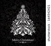 christmas card. christmas tree. ... | Shutterstock .eps vector #164542421