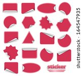 red blank sticky paper set... | Shutterstock .eps vector #164547935
