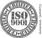 ISO 9001 certified grunge rubber stamp, vector illustration