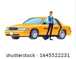 taxi driver inviting passenger... | Shutterstock .eps vector #1645522231