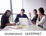 group of happy young  business... | Shutterstock . vector #164559467