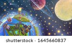 fantasy space landscape with...   Shutterstock .eps vector #1645660837