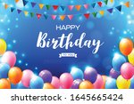 happy birthday text with a... | Shutterstock .eps vector #1645665424