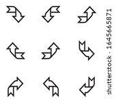 black arrows set on white... | Shutterstock .eps vector #1645665871