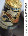 Small photo of Welsh Dragon China Thimble, Souvenir Thimble, Saundersfoot Souvenir Thimble, Sewing Thimble, Quilting