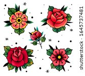 tattoo flowers and roses. old... | Shutterstock .eps vector #1645737481