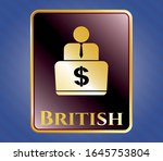 gold badge or emblem with man... | Shutterstock .eps vector #1645753804