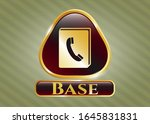gold badge with phonebook icon ... | Shutterstock .eps vector #1645831831
