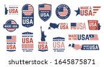 made in usa badges. patriot... | Shutterstock .eps vector #1645875871