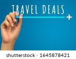 Vacation travel deals hand written text on blue background with copy space - Flight promotional flash sale banner with airplane icon - Retail web advertising holiday airline ticket business concept - stock photo