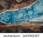 Aerial View Of The Frozen River ...
