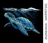 Ocean Turtle Art Vector...